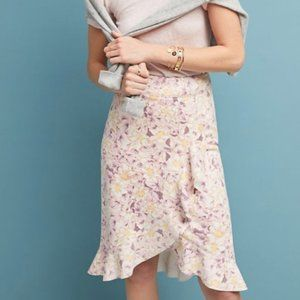 Anthropologie Floral Ruffle Skirt Size 14